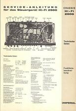 Imperial Service Manual per chassis Hi-Fi 2500