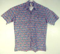 Kahala Hawaiian Island Mens Aloha Camp Shirt 100%Cotton Island Art Print Blue L