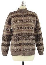 RALPH LAUREN Women's Hand Knit Sweater Southwest Brown Llama Wool Zip Front Sz M