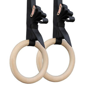 1 Paar Gymnastikringe Holz Gymnastic Rings Turnringe aus Holz Ringe Sportring