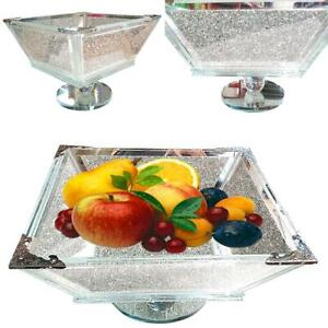 Sparkly Crushed Diamond Crystal Filled Silver Home Kitchen Silver Fruit Bowl