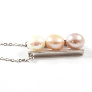 Triple Cultured Pearl Pendant Necklace with Sterling Silver 40cm 8.0-8.5mm