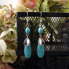 Cute New Tibetan Silver Turquoise Bead Dangle Drop Earrings