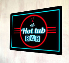 The Hot Tub Bar Red Retro Neon lights 80's style out door sign A4 metal plaque