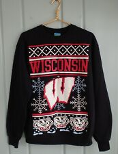 Champion Eco Fleece Mens Medium Black Wisconsin Badgers Sweatshirt Christmas