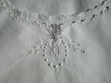 """ANTIQUE FRENCH NIGHTDRESS - LOVELY MONOGRAM """"ML"""" - Pure Cotton"""