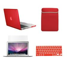 "4 in 1 Rubberized RED Case for Macbook PRO 15"" Retina +Key Cover+LCD +Sleeve Bag"