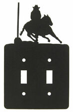 Pole Bending Black Metal Double Light Switch Plate Cover