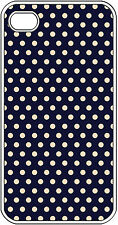 Navy Blue with Pink Polka Dot Design iPhone 4 4s Hard White Case Cover