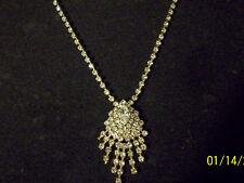 "Sparkling 17-21"" Long Adj. Clear Rhinestone Necklace Ornate Dangle Fringe Front"