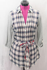 One September 1.9 Anthropologie Split Plaid Tunic ButtonDown Belted Top Sz S EUC