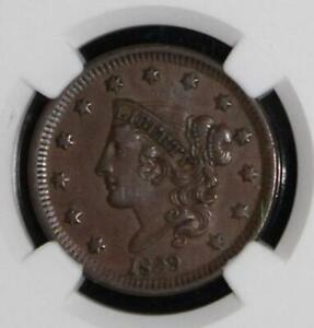 1839 XF 45 NGC Graded Large Cent-Reverse of 1838