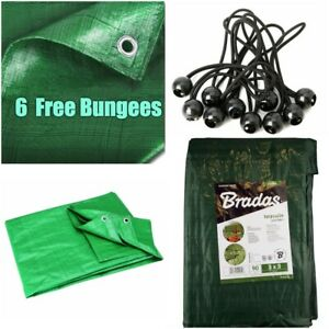 Green TARPAULIN Small-Large Waterproof Sheet Light Weight Trailer 6 Free Bungees