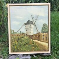 Peinture sur Toile - Le Moulin  - signée Jean BIDAULT