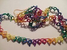 "DOVE COUNTRY Tatted  Lace Trim 14"" Festive Colors Crazy Quilts Shuttle Tatting"