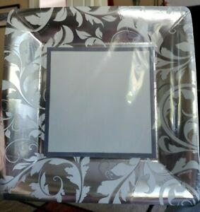 "Silver Elegant Scroll 8 ct Square Dinner Plates - Large 10 1/4"" Anniversary, etc"