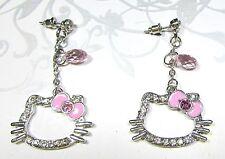 Hello Kitty Imitation Diamond Silver Plated Dangling Earrings