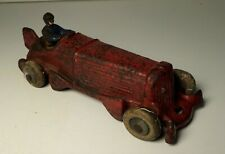 Champion Boat Tail Red Cast Iron Indy Race Car Racer w/ Driver - Hubley