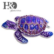 Hinged Big Purple Sea Turtle Fish Jewelry Trinket Box Decorative Collectibles