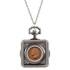 NEW Civil War Indian Head Penny Coin Pocket Watch Coin Pendant Necklace 14200