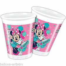 8 Disney's Minnie Mouse Pink Funky Dots Dance Party 200ml Plastic Cups