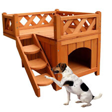 Confidence Pet Wooden Dog House Living House Kennel with Balcony Wood Color