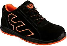 Workforce Safety Steel Toe Cap Black Suede with Orange Trim Shoes Trainers WF32