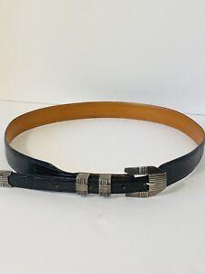 Genuine Lizard Belt Sterling Silver Buckle Size 38