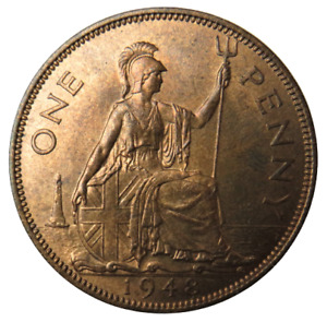 1948 King George VI One Penny Coin - Great Britain - Unc