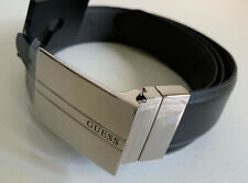 NEW! GUESS REVERSIBLE BLACK GRAY MEN'S LEATHER BELT 34-36 MEDIUM SALE