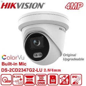Hikvision DS-2CD2347G2-LU 4MP Full-Color Mic ColorVu+AcuSense IP Camera PoE New