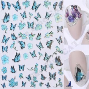 Nail Art Stickers 3D Laser Butterfly Holographic Colourful self-Adhesive NEW2021
