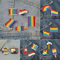 2-5pcs/set Rainbow LGBT Brooch Cartoon Heart Flag Gays Lover Lapel Pin Gifts New