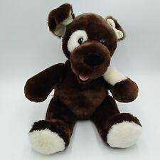 "Build A Bear Dark Brown Dog Plush 11"" Stuffed Animal White Eye Patch Barks"