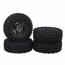 4Pieces RC1:10 115mm Rubber Tyres & 4 Holes Wheel Rims for Rock Crawler