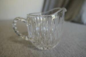 "Molded Crystal Starburst Glass Creamer Pitcher 3.5"" H x 5"" W x 3.25"" D"