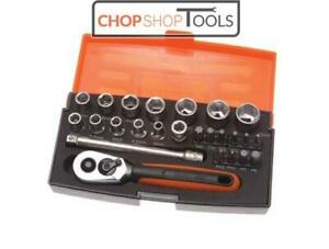Bahco SL25 Piece 1/4in Drive Metric Socket / Bit Set with Ratchet & Case