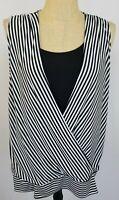 Chicos Womens Tank Top Size 3 XL Sleeveless Shirt Black White Striped Faux Wrap