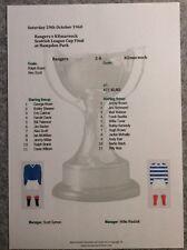 1960-61 Scottish League Cup Final Rangers v Kilmarnock Matchsheet