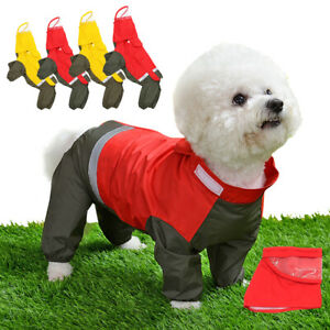 Lightweight Dog Rain Jacket with Hood Reflective Raincoat Adjustable Jumpsuit