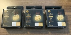 GE LED Vintage Style Warm Candle Light Dimmable bulb Amber Candelabra Lot Of 3
