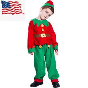 Kids' Christmas Costumes Elf Outfit Boys Santa Elf Costume Girls Dress Up US