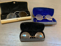 Antique Vintage Silver Gold Tone Lennon Look ROUND Eyeglasses W Cases