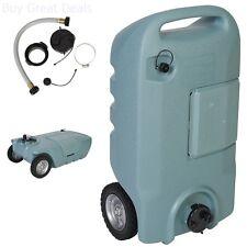 Wheel 15 Gallon RV Waste Gray Black Sewer Waste Water Tank Camper Tote Portable