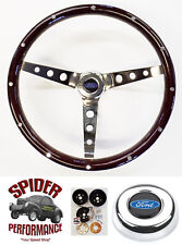 """1970-1977 Ford pickup Bronco steering wheel BLUE OVAL 15"""" CLASSIC WOOD"""