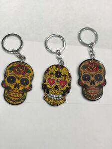 Floral Sugar Skull Keychain
