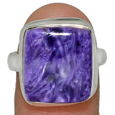 Siberia Charoite 925 Sterling Silver Jewelry Ring s.8.5 AR165822
