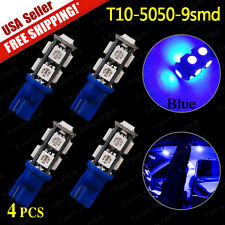 4 X Hyper Blue T10 5050 9-LED Interior/License tag/Dome SMD Light Bulbs