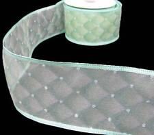 "10 Yards Spring Green Diamond Glitter Sheer Wired Ribbon 2 1/2""W"