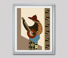 Art African Music Instrument Player Nigerian Home Decor Poster Print Painting
